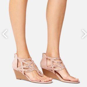 JUSTFAB NWOT Blush Pink Rhinestone Wedge Sandals